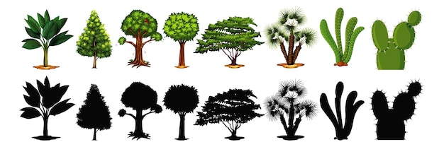 나무와 그림자의 집합 무료 벡터