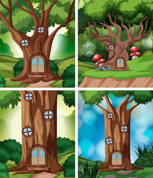 Набор домик на дереве в природе Premium векторы