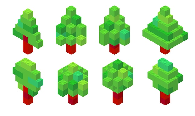 プラスチック製のレンガから収集されたアイソメビューのツリーのセット。針葉樹と落葉樹。 Premiumベクター