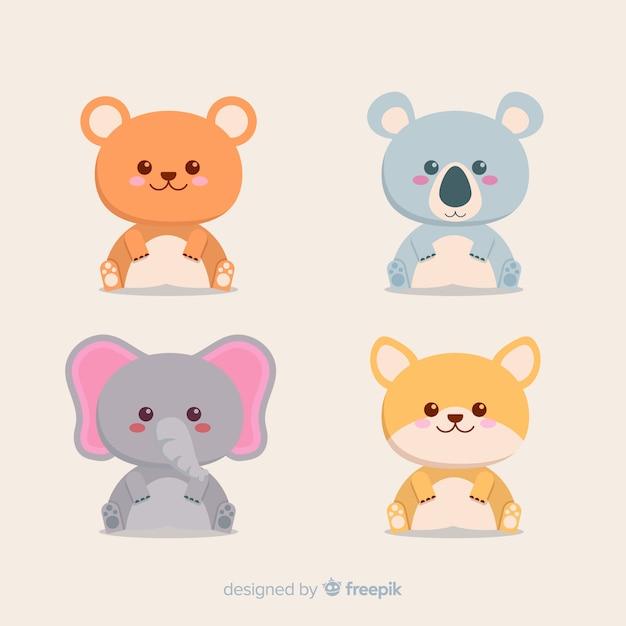 熱帯動物のセット:クマ、コアラ、ゾウ、キツネ。フラットスタイルデザイン 無料ベクター