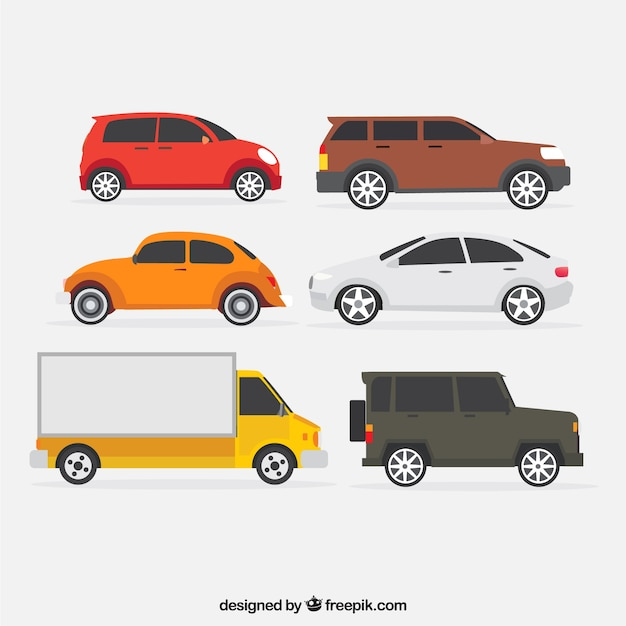 Set of truck and other cars Free Vector