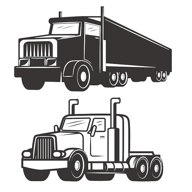 白い背景の上のトラックのイラストのセットです。ロゴ、ラベル、エンブレム、記号、ブランドマークの要素。 Premiumベクター