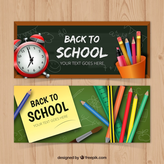 Set of two banners with realistic school materials Free Vector
