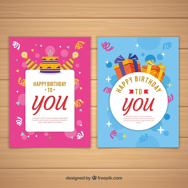 Set of two birthday cards in flat design Free Vector