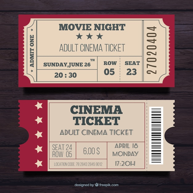 Set Of Two Cinema Pass In Vintage Style  Party Ticket Template