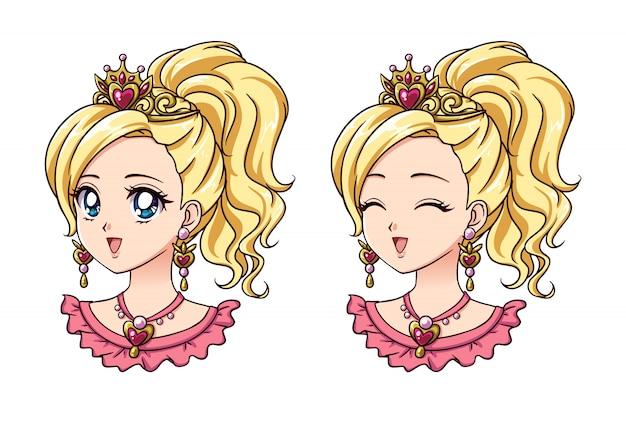 Набор из двух милые аниме принцессы портретов. версии с открытыми и закрытыми глазами. ретро стиль аниме 90-х рисованной иллюстрации. изолированные на белом фоне Premium векторы