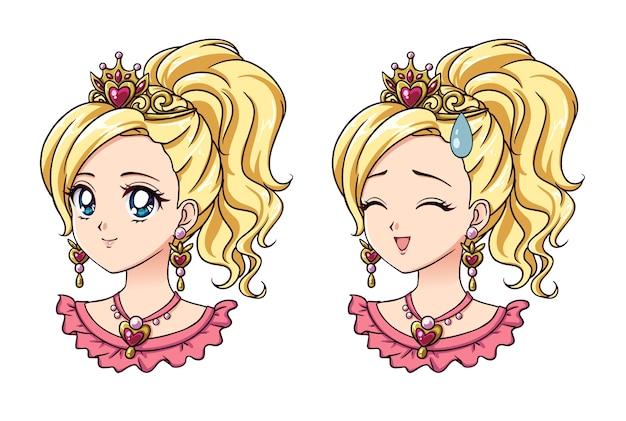 Набор из двух портретов милых аниме-принцесс Premium векторы