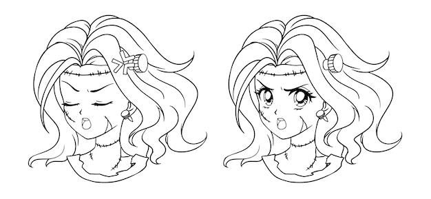 Набор из двух милый портрет девушки зомби манги. два разных выражения. Premium векторы