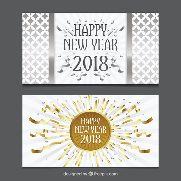 Set of two new year greeting cards in golden and silver Vector ...