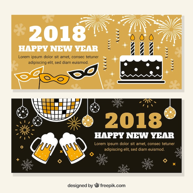 set of two new years party banners free vector