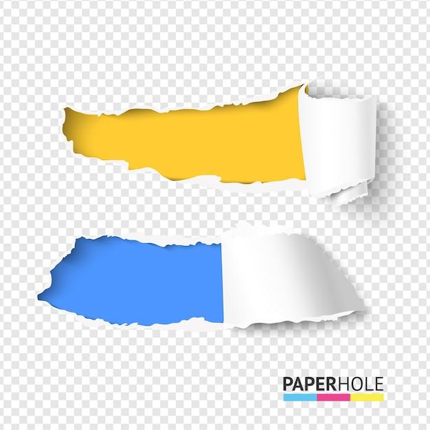 Набор из двух реалистичных ярких рваных бумажных отверстий с рваными краями для веб-баннера Premium векторы