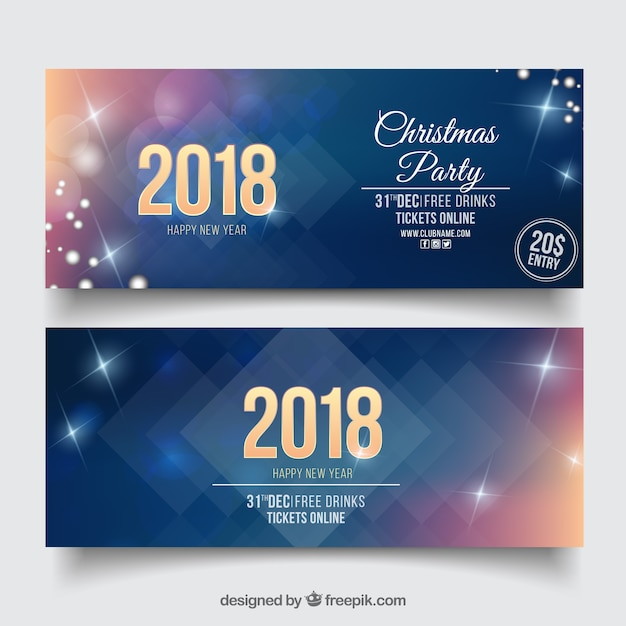 set of two sparkly new year party banners free vector
