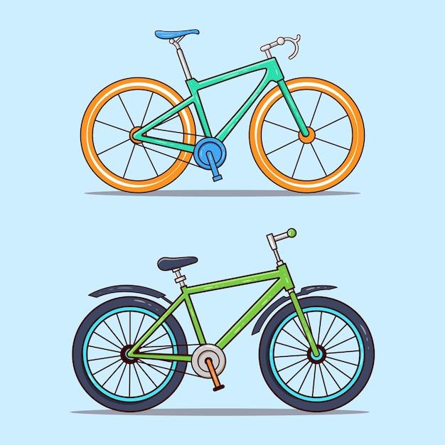 두 스포츠 자전거 그림의 집합 프리미엄 벡터