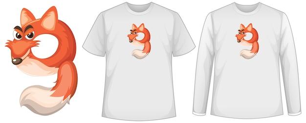 Набор из двух видов рубашки с лисой в форме экрана номер девять на футболках Бесплатные векторы