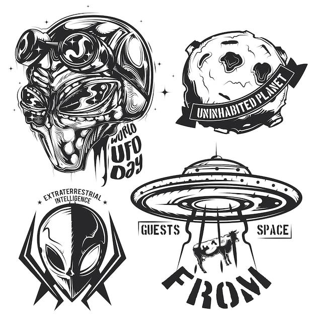 Набор элементов нло (инопланетяне, летающая тарелка, планета и др.), эмблемы, ярлыки, значки, логотипы. Бесплатные векторы