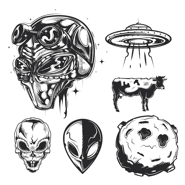 Набор элементов нло (пришельцы, летающая тарелка, планета и т. д.) Бесплатные векторы