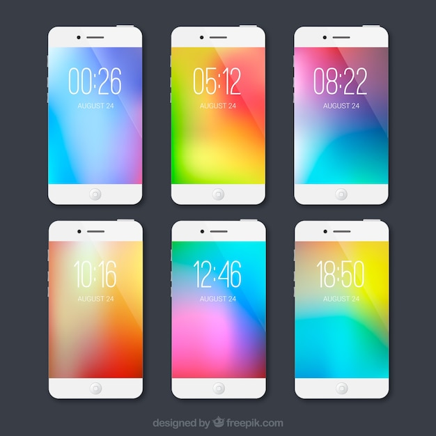 Set of unfocused colorful mobile wallpapers