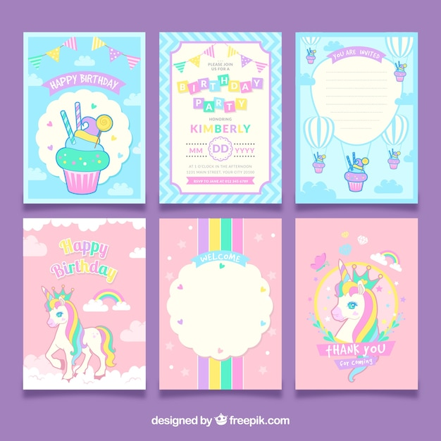 Set Of Unicorn Birthday Cards Free Vector