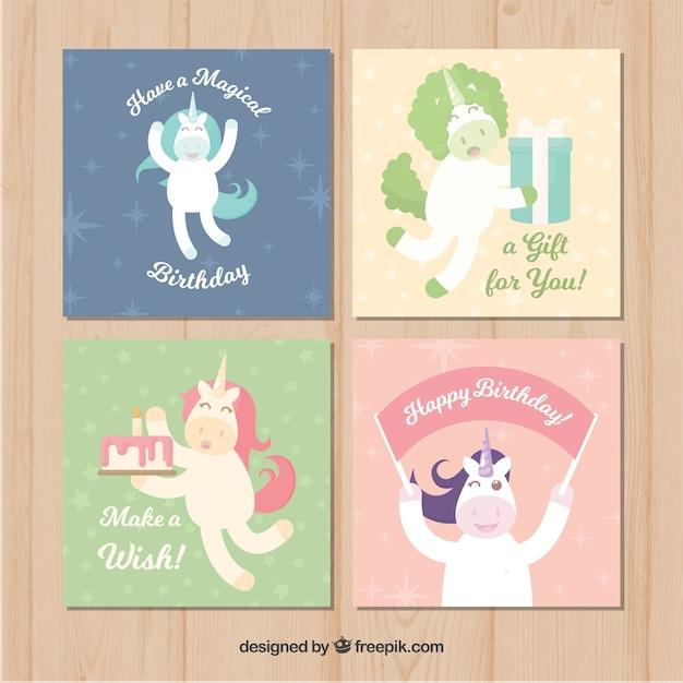 Set Of Unicorn Birthday Cards Free Vector