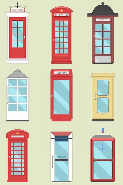 영국, 스코틀랜드 및 아일랜드에서 영국 전화 박스 세트 런던 상자, 영국 전신 프리미엄 벡터