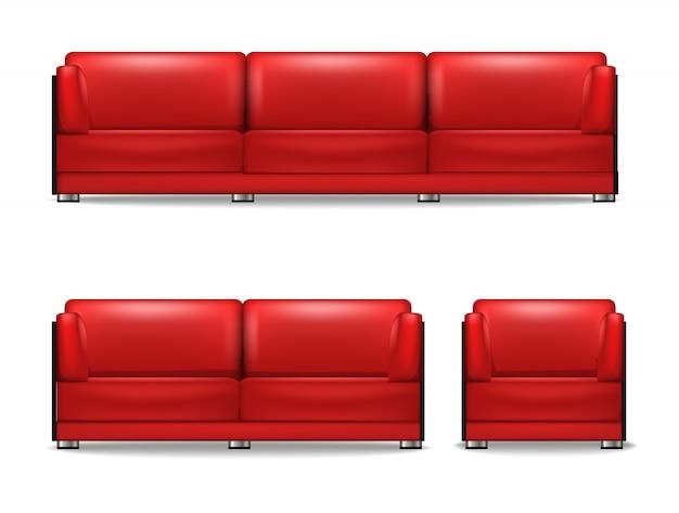 Комплект мягкой мебели для гостиной, спальный диван, кресло и гостевой диван красного цвета. Premium векторы