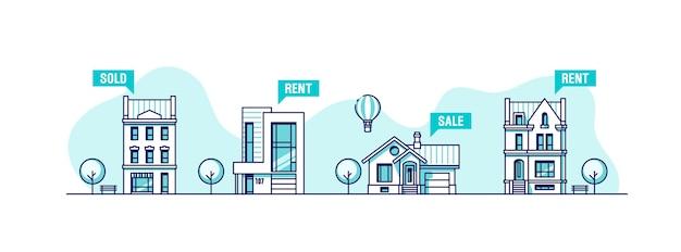 都市の家のセット。不動産ビジネスコンセプト。 Premiumベクター
