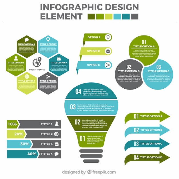 Set of useful infographic elements in flat design Vector | Free ...
