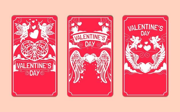 소셜 미디어 이야기를위한 발렌타인 데이 인사말 카드 세트 프리미엄 벡터
