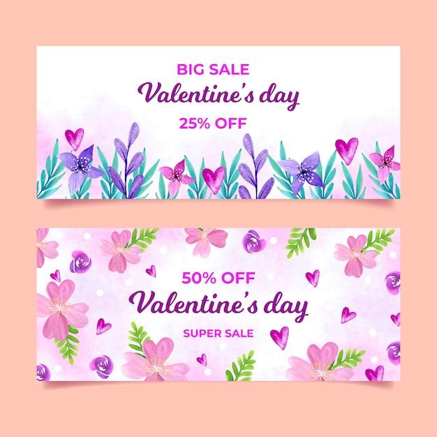 Набор баннеров на день святого валентина Бесплатные векторы
