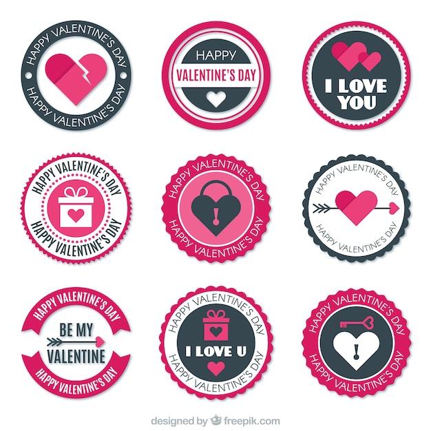 Set Of Valentine Stickers Premium Vector