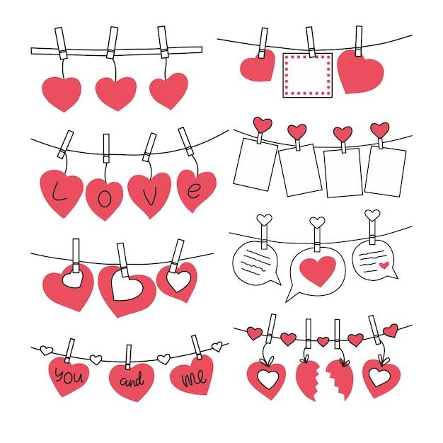 Набор валентинок на прищепках. иллюстрация. Premium векторы