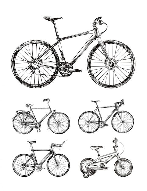さまざまなバイク、自転車の手描きスケッチのセット Premiumベクター