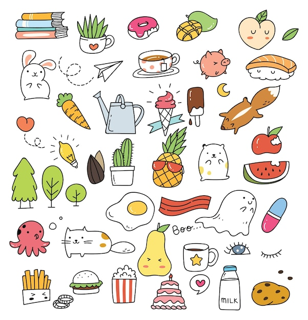 Set of various cute icon in doodle style isolated on white background Premium Vector