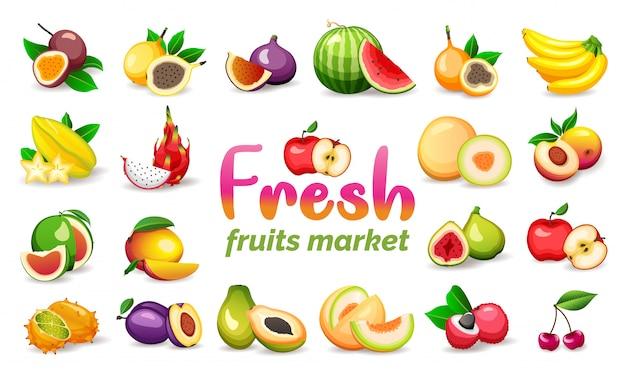 白い背景に、フラットスタイルのsに分離された様々なエキゾチックなフルーツのセット。ベジタリアンフード Premiumベクター