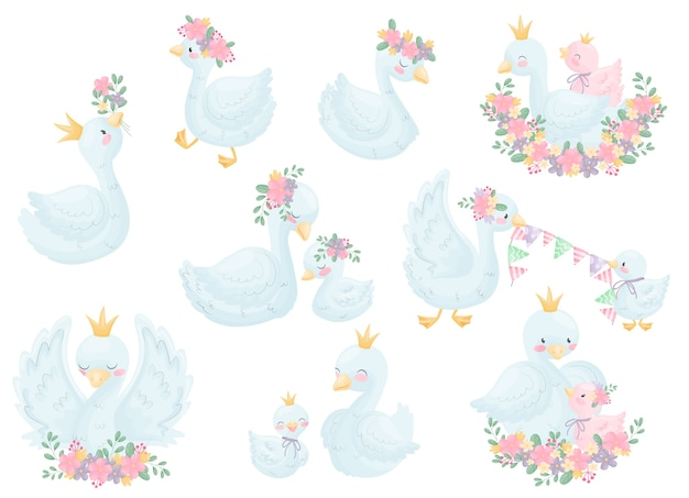 王冠と花の様々な画像の白鳥のセットです。白い背景のイラスト。 Premiumベクター
