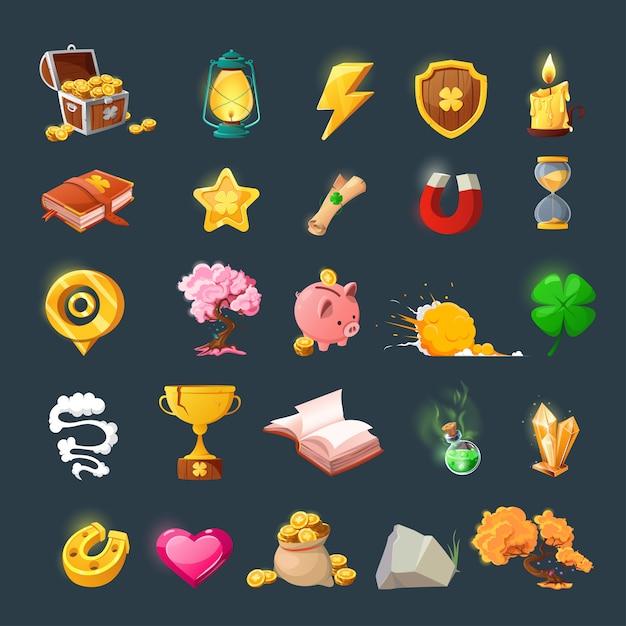 Набор различных предметов для дизайна пользовательского интерфейса игры. мультяшные магические предметы и ресурсы для фэнтезийной игры. Premium векторы