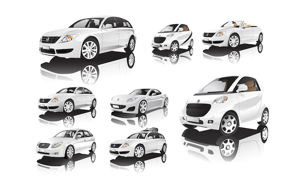 Набор различных моделей белых автомобилей векторов Бесплатные векторы