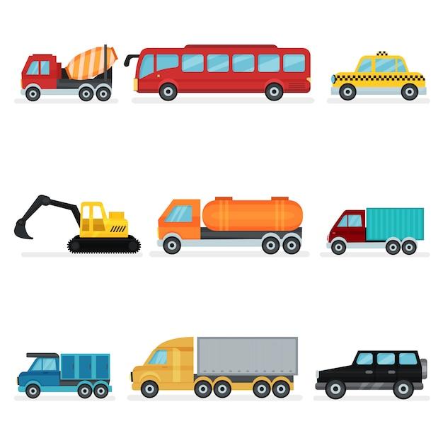 さまざまな都市交通のセット。乗用車、産業機械、サービスカー Premiumベクター