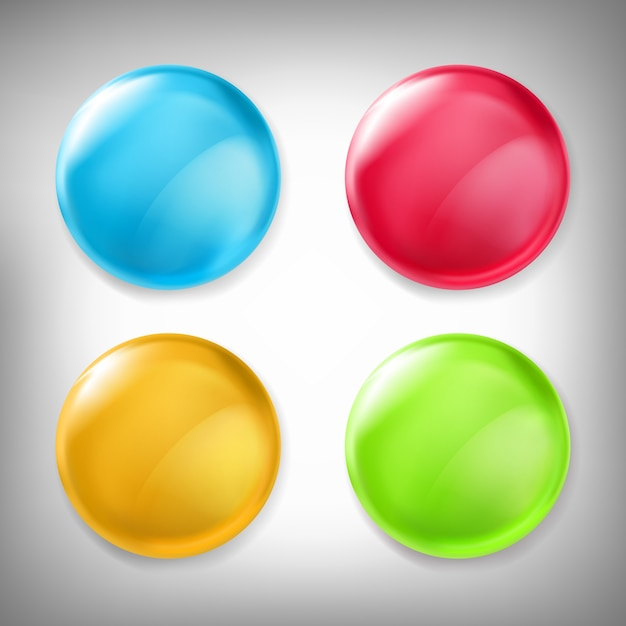 Set of vector 3D design elements, glossy icons, buttons, badge blue, red, yellow and green isolated on gray. Free Vector