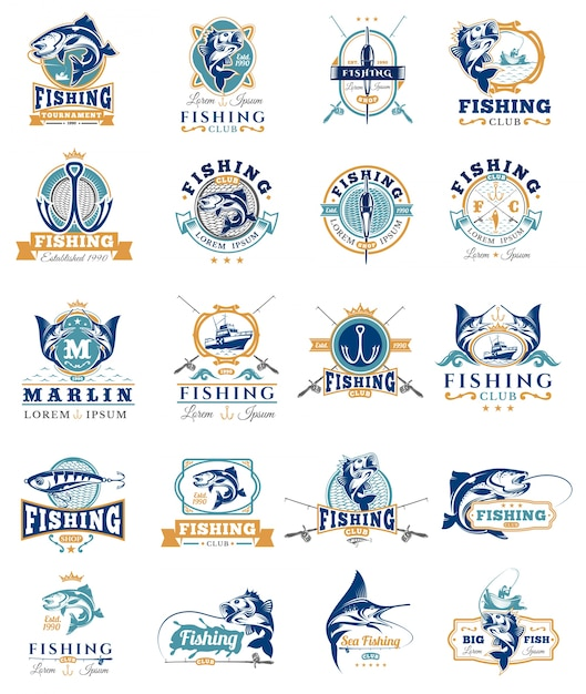 Set of vector badges, stickers on catching fish. Free Vector