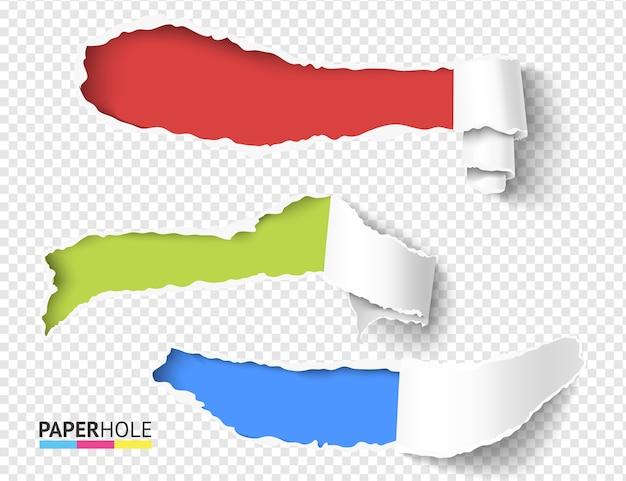 Набор векторных пустых реалистичных кусков свитка с рваными краями Premium векторы
