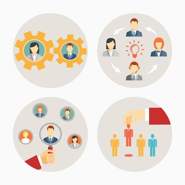 Набор векторных деловых людей и значков персонала в кругах, изображающих набор шестерен для совместной работы, группового мозгового штурма, лидерства группы или команды и найма или увольнения Бесплатные векторы