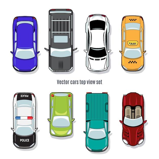 벡터 자동차 평면도의 집합입니다. 자동차 컨버터블 픽업 및 지프, 택시 및 경찰 무료 벡터