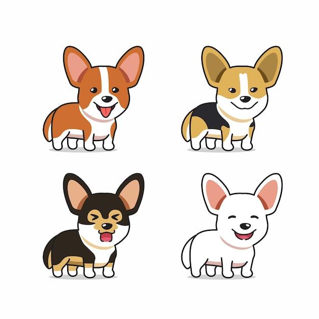 Набор векторных мультипликационный персонаж корги собака Premium векторы