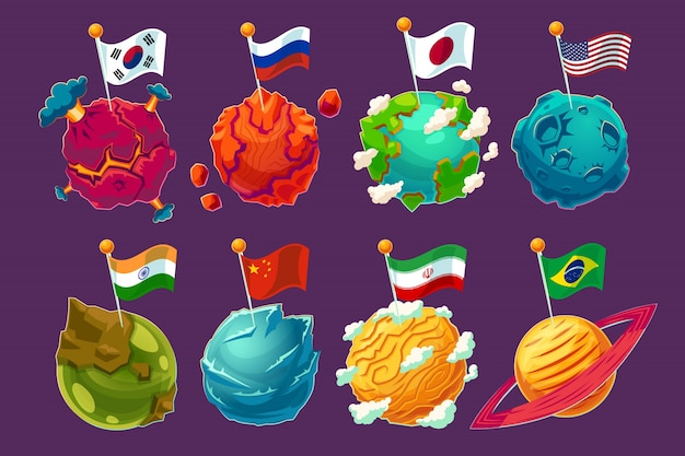 Set of vector cartoon illustrations fantasy\ alien planets with fluttering flags on them