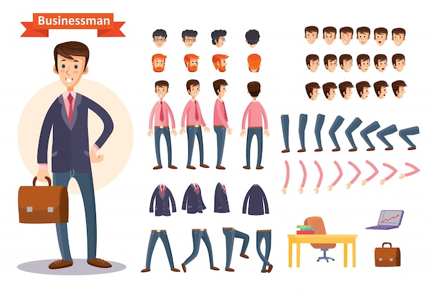 Set of vector cartoon illustrations for creating a character, businessman. Free Vector