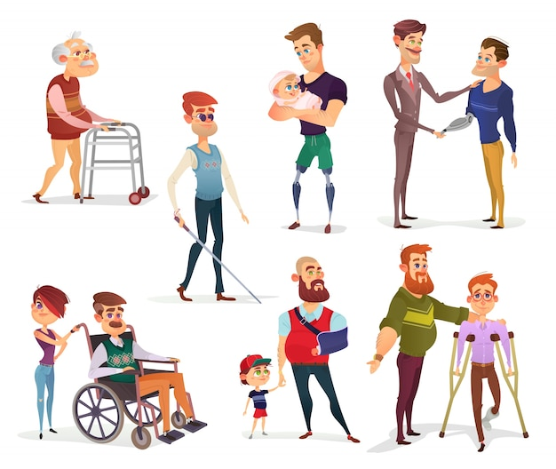 Set of vector cartoon illustrations of people\ with disabilities isolated on white.