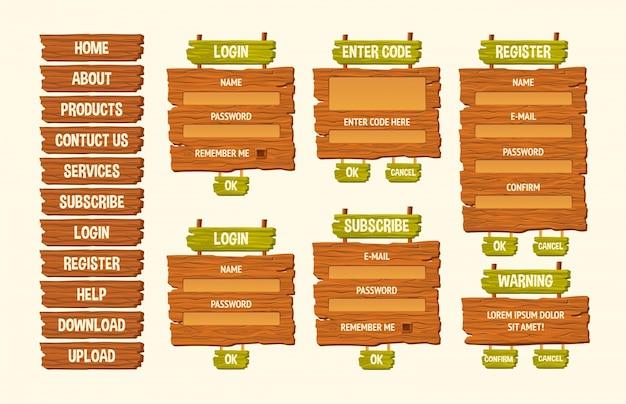 Набор векторных иллюстраций мультфильмов деревянные знаки, элементы дизайна gui Бесплатные векторы