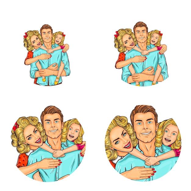 Набор векторных иллюстраций, поп-арт круглых значков аватаров Бесплатные векторы