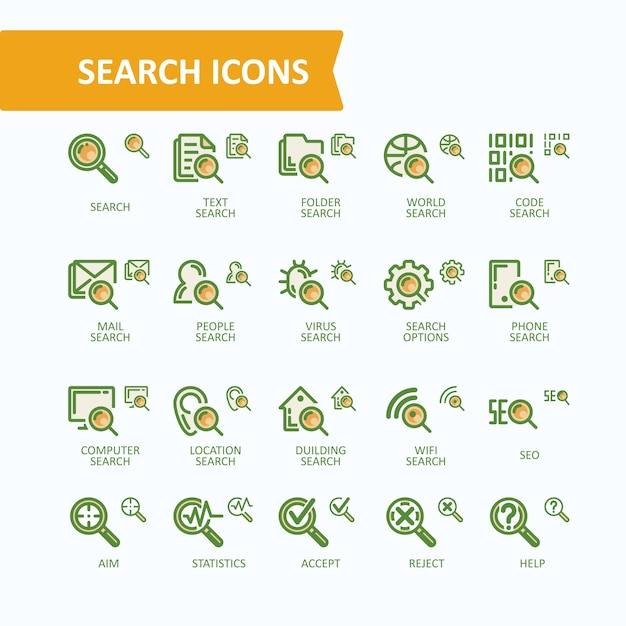Set of vector illustrations fine line icons of\ analysis, search of information. 32x32 and 16x16 pixel\ perfect